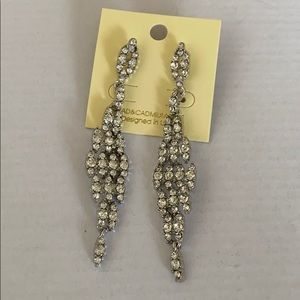 Women's CZ new silver dangle drop long earrings